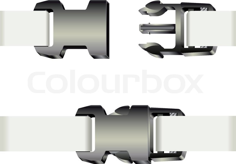 800x555 Set Of Opened And Closed Plastic Safety Buckles With White Ribbon