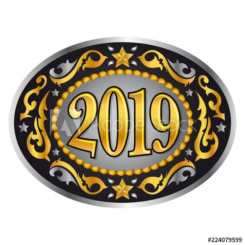 500x500 2019 Cowboy Western Style New Year Oval Belt Buckle, Vector