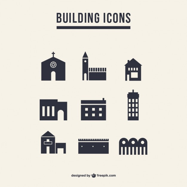 626x626 Building Icons Silhouette Pack Vector Free Download