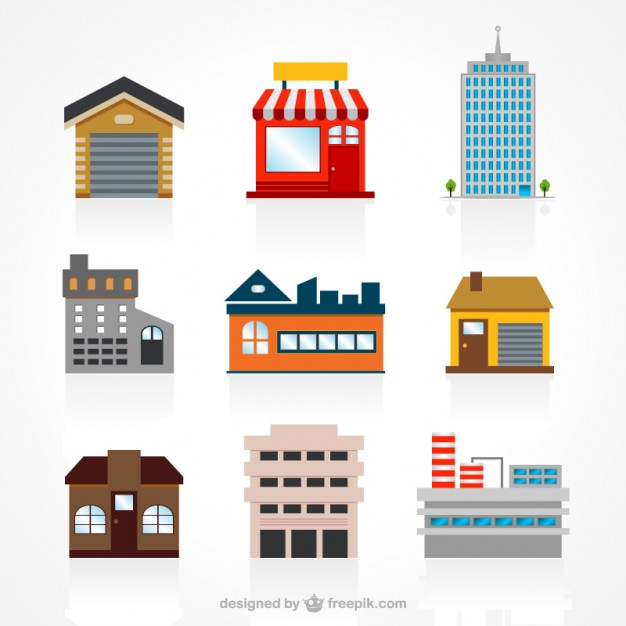 626x626 Buildings Set Vector Free Download