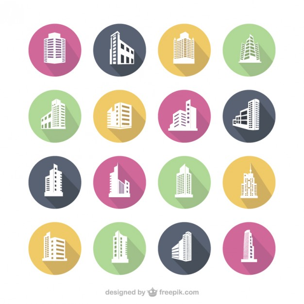 626x626 Colorful Building Icons Vector Free Download