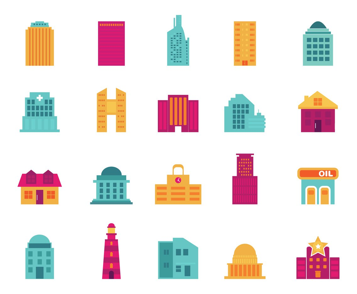 1136x936 Flat Building Vector Icons Vector Art Amp Graphics