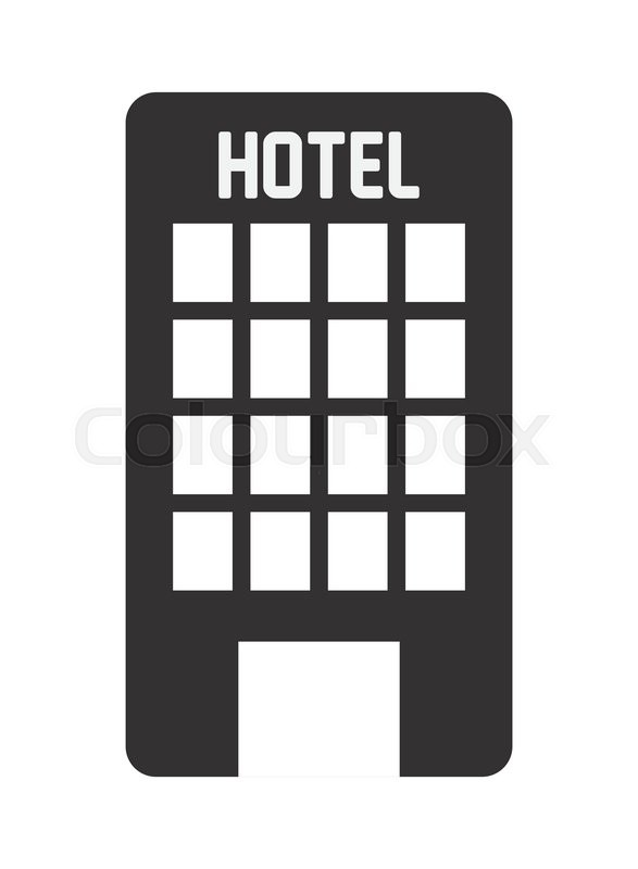 587x800 Flat Design Hotel Building Icon Vector Illustration Stock Vector