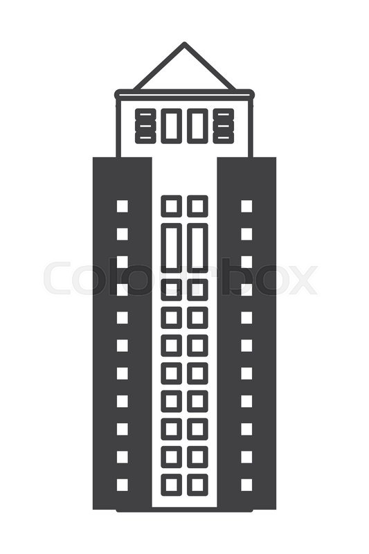 533x800 Flat Design Tall Building Icon Vector Illustration Stock Vector
