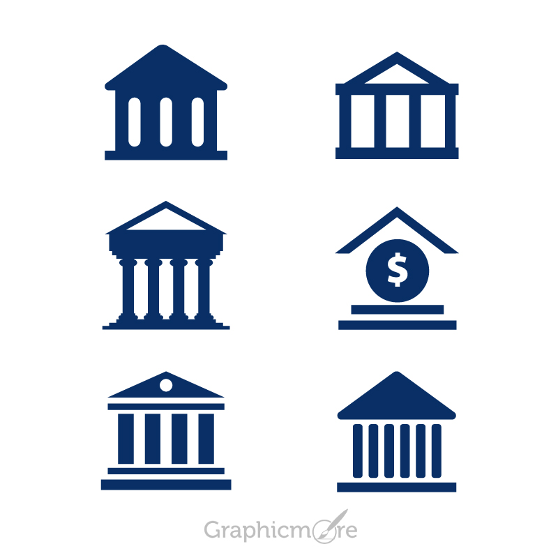 800x800 Bank Building Icons Set Design Free Vector File By Graphicmore