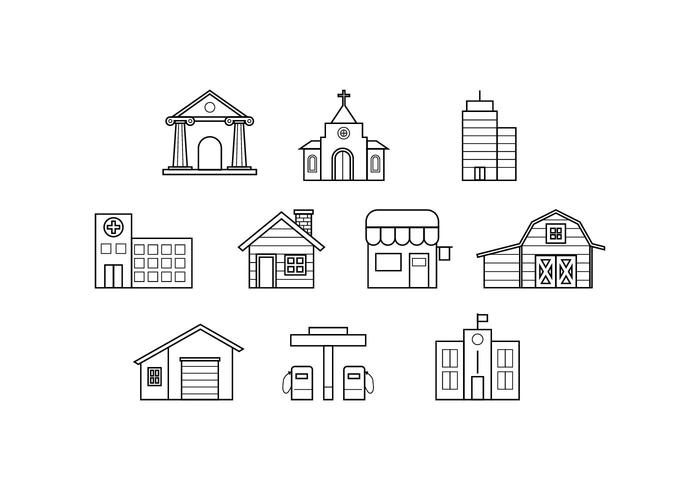 700x490 Free Buildings Line Icon Vector
