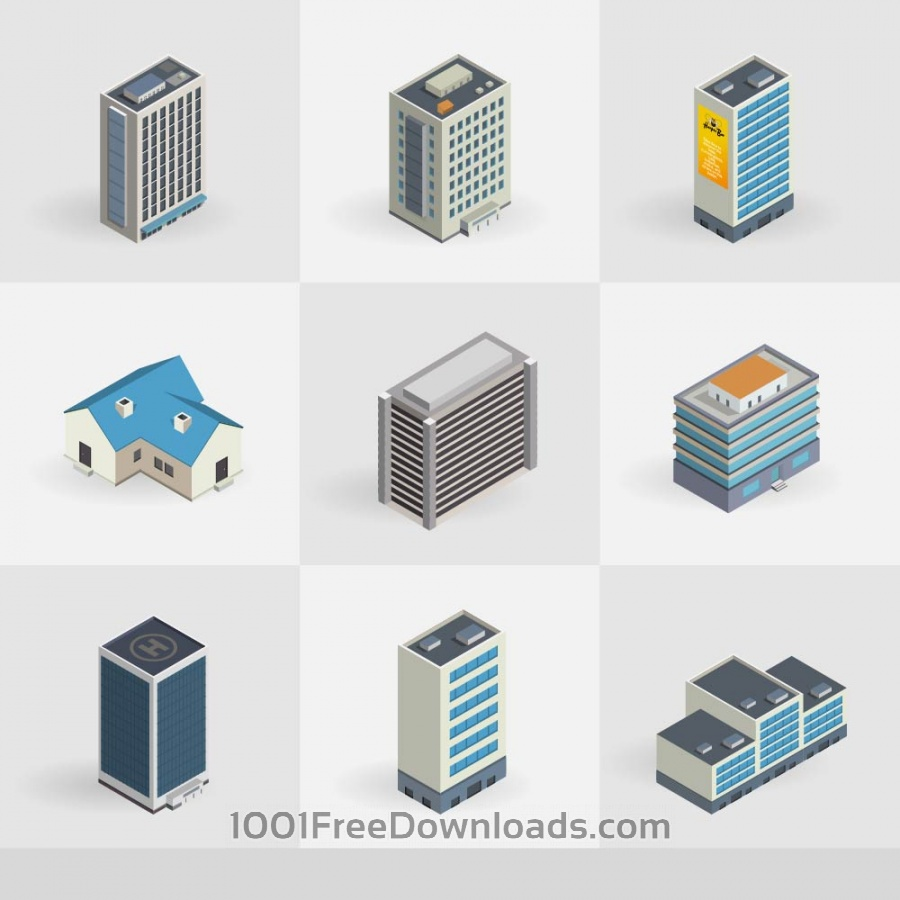 900x900 Free Vectors Isometric Vector Buildings Icons Icons