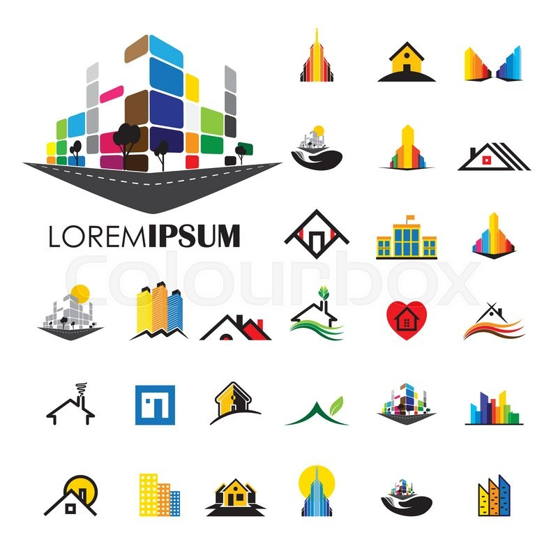800x800 Home And House Building Architecture Vector Logo Icons. Building