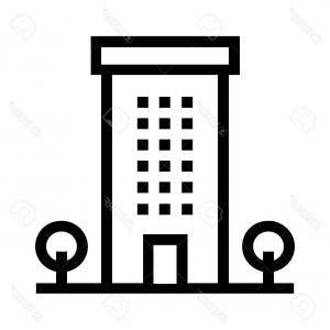 300x300 Stock Illustration Set Black White Vector Building Icons Showing