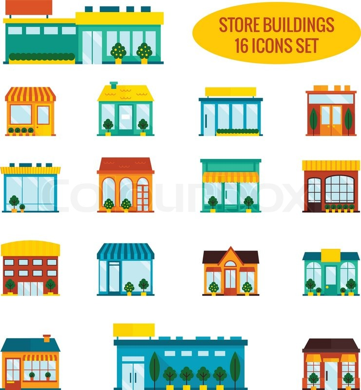 741x800 Store Shop Front Window Buildings Icon Set Flat Isolated Vector