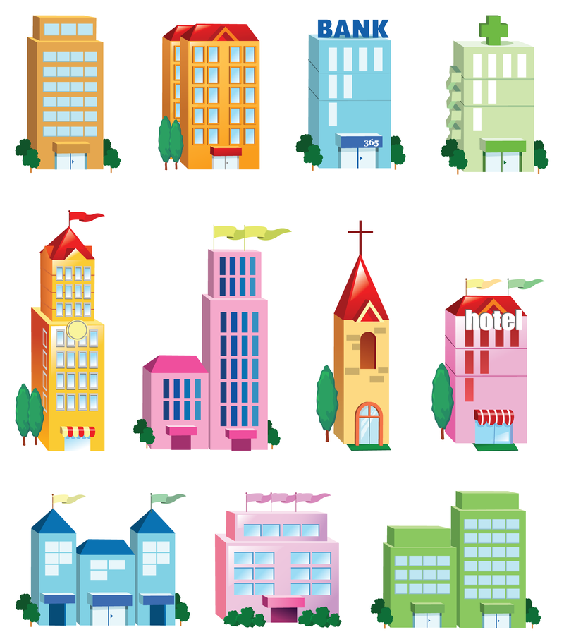 800x913 Vector Building Icon Set