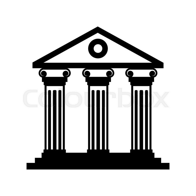 800x800 Vector Black Historical Building Icon On White Background. Museum
