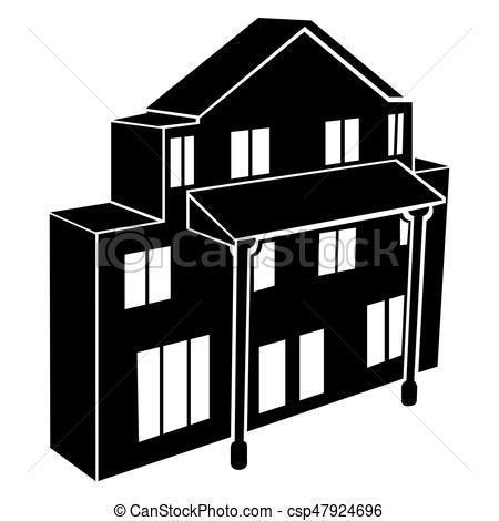 450x470 Isolated Building Silhouette. Isolated Silhouette Of A Building