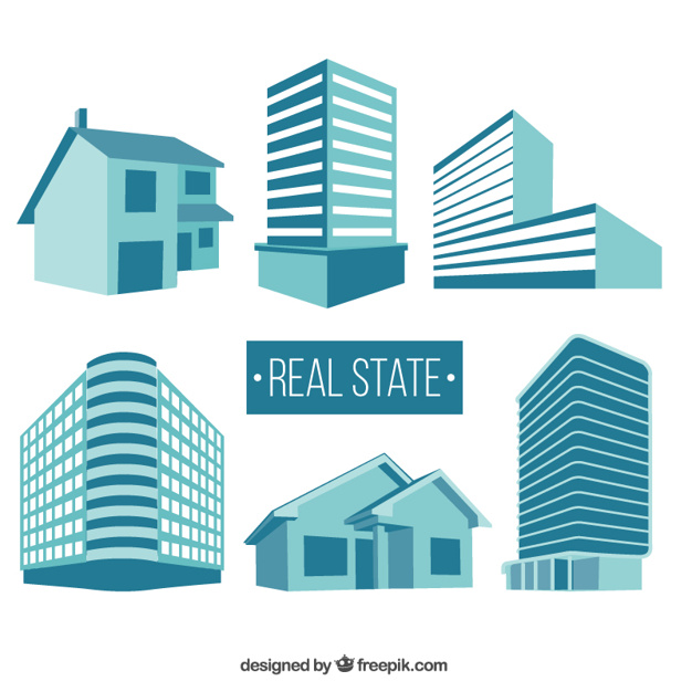 626x626 Real State Buildings Vector Free Download