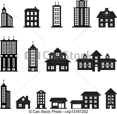 450x438 Building Black And White Set 3 Eps 10.