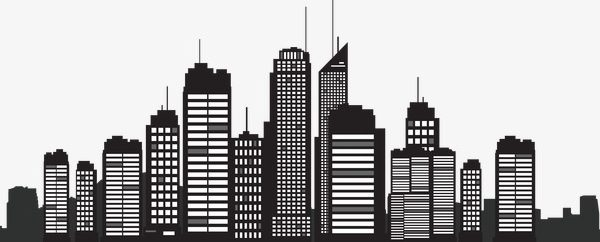 600x242 Building Silhouette, City Silhouette, Building Vector Png And
