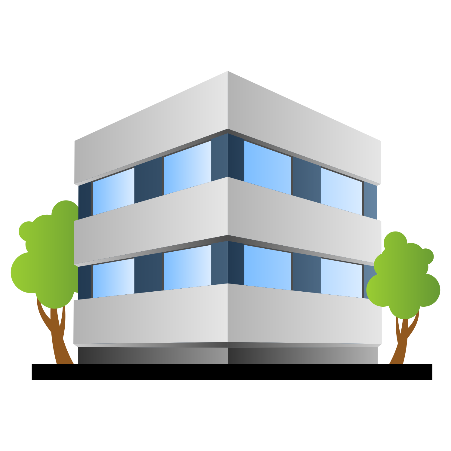 1500x1500 Vector For Free Use Office Building With Trees