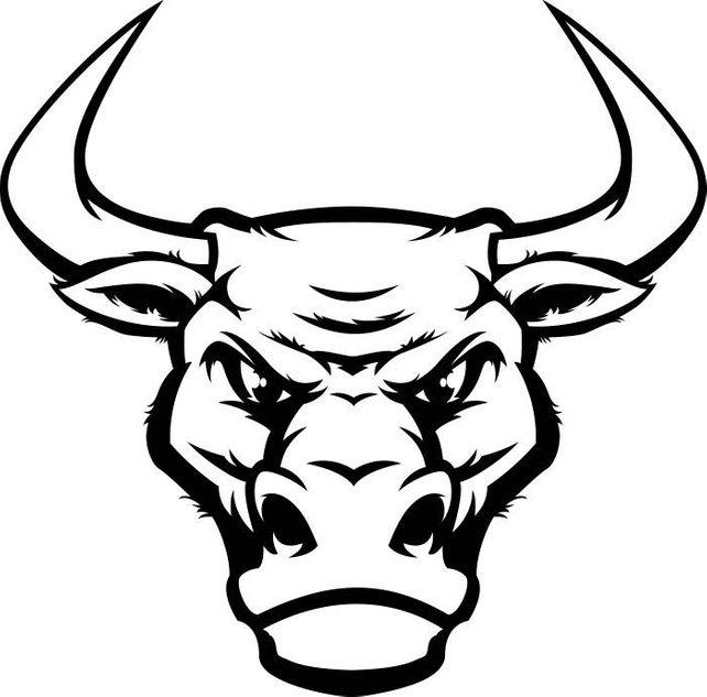 642x633 Bull 4 Head Mascot Steer Horns Bull Riding Western Logo .svg Etsy