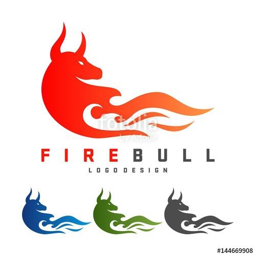 500x500 Bull Logo, Fire Bull Design Logo Vector Stock Image And Royalty
