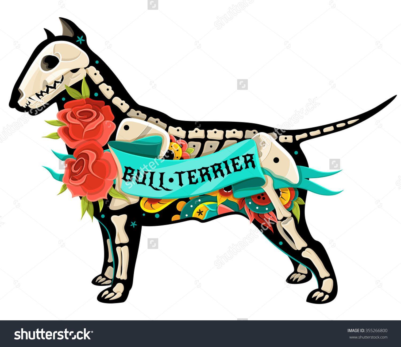 1500x1300 Stylized Skeleton Bull Terrier. Vector Bull Terrier. Vector