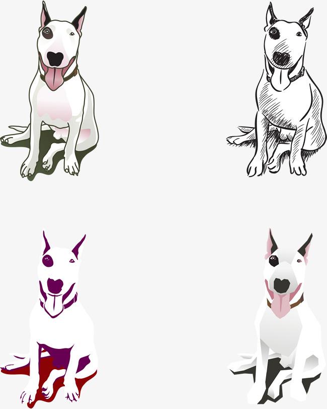 650x811 Vector Hand Painted Cartoon Bull Terrier, Cartoon Vector, Bull