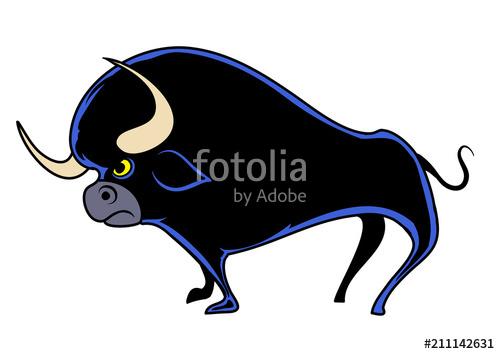 500x354 Cartoon Bull. Vector Illustration Stock Image And Royalty Free