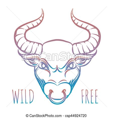 450x470 Colorful Head Of Bull And Lettering Wild Free Isolated On White