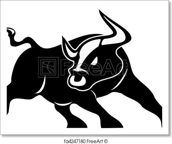 560x470 Free Art Print Of Angry Bull Vector. Angry Bull Vector Isolated On