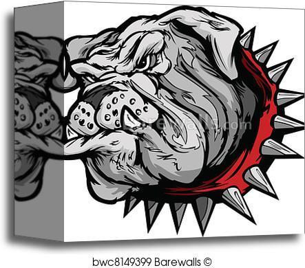 443x390 Canvas Print Of Bulldog Cartoon Face Vector Illustr Barewalls