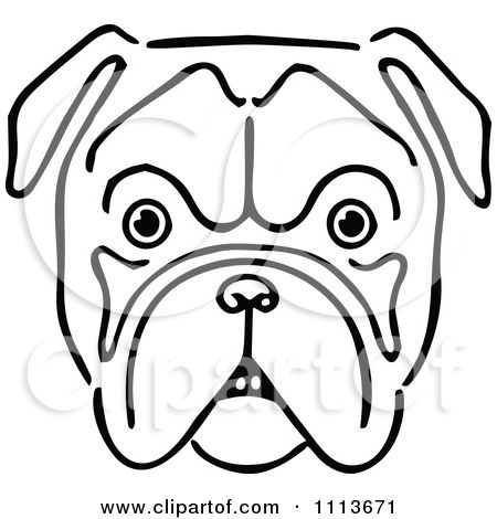 450x470 Clipart Vintage Black And White Bulldog Face