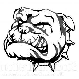 300x300 Vector Illustration Of A Lineart Angry Bulldog Face And Spiked