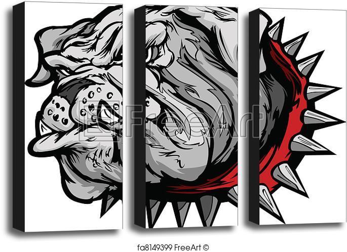 685x498 Art Block Print Of Bulldog Cartoon Face Vector Illustr. Cartoon