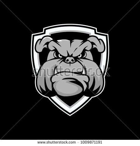 450x470 Bulldog Head Cartoon With Shield Vector Design Logo Designs