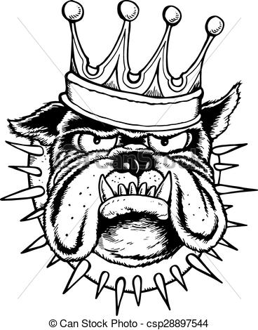 368x470 Bulldog King . Outline Drawing Of Bulldog Head Wearing A Crown And
