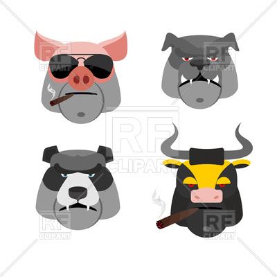 400x400 Set Of Angry Animals, Head Of Pig, Bull, Bear And Bulldog Vector