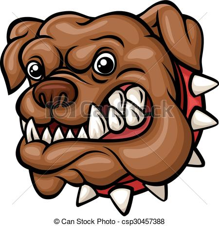 450x463 Vector Illustration Of Angry Cartoon Bulldog Head Mascot.