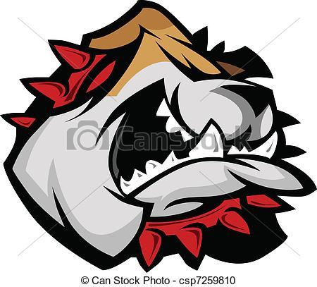450x407 Mascot Bulldog With Collar. Bulldog Mascot Head Graphic Vector Image.