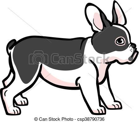 450x397 French Bulldog. Illustration Of A Cute Black And White French Bulldog.