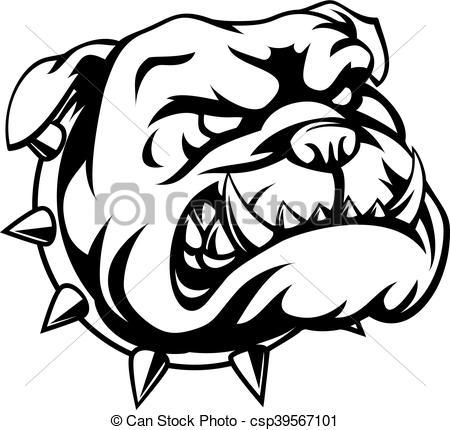 450x430 Tough Bulldog. A Mean Looking Cartoon Bulldog.