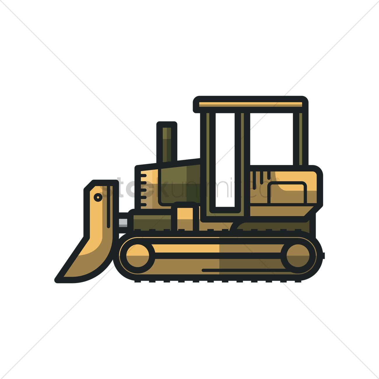 1300x1300 Bulldozer Vector Image