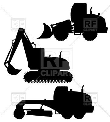 362x400 Silhouettes Of Bulldozer, Excavator, Grader
