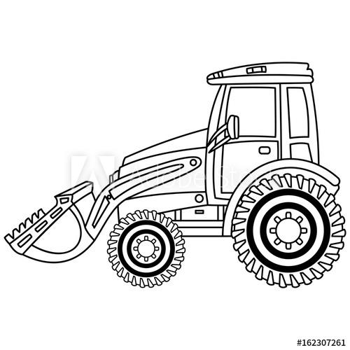 500x500 Vector Bulldozer. Black And White Bulldozer Vector Illustration
