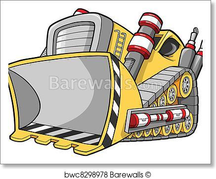 437x364 Art Print Of Bulldozer Vector Illustration Barewalls Posters