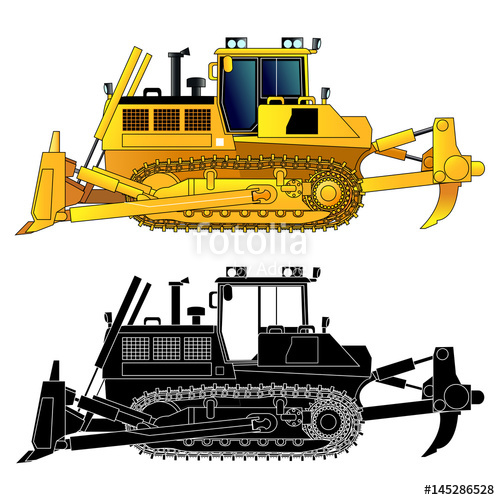500x500 Bulldozer, Vector Icon, Isolated On White Stock Image And Royalty