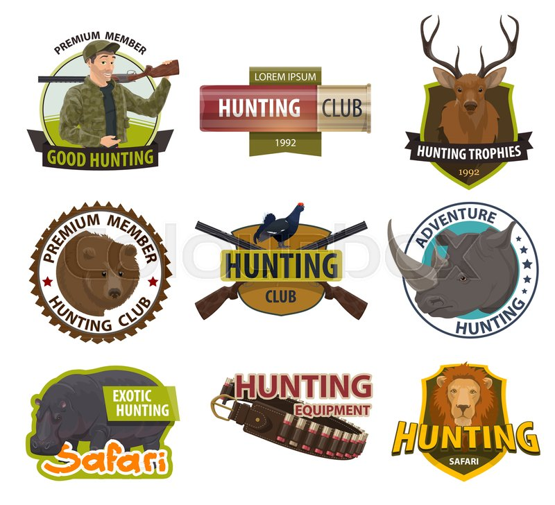 800x728 Hunter Club Member Badges Or Hunting Open Season Icons. Vector