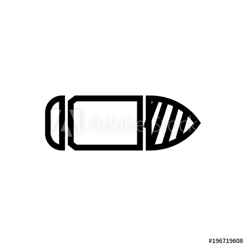 500x500 Horizontal Bullet Vector Icon, Side View Of Bullet Symbol. Simple