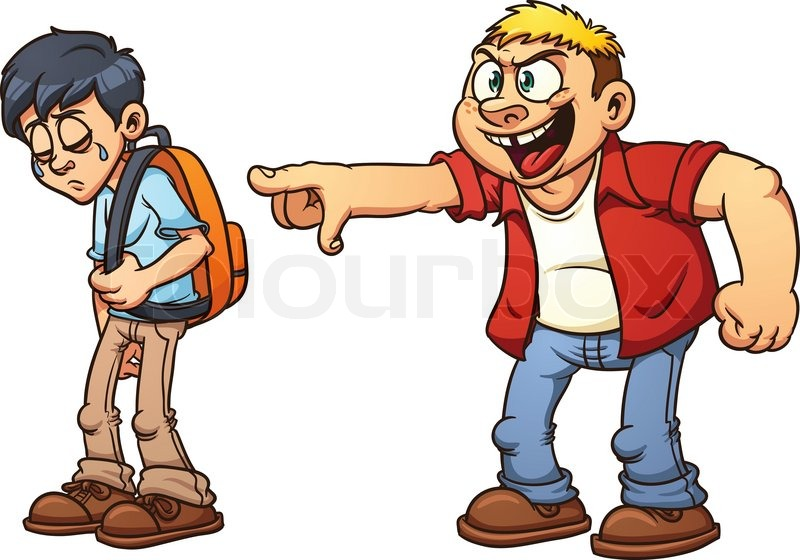 800x560 Cartoon Kid Suffering From Bullying. Vector Illustration With