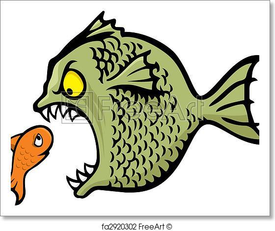 560x470 Free Art Print Of Bully Fish Vector. Angry Fish Bullying A Little