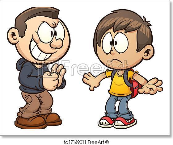 560x470 Free Art Print Of Bullying. Cartoon Kid Getting Bullied. Vector