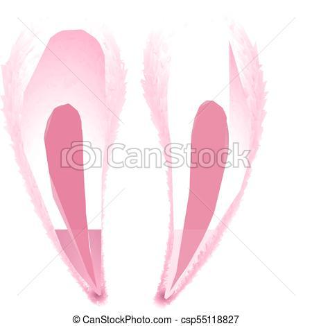 450x470 Vector Realistic Rabbit, Bunny Easter Ears. Vector Realistic